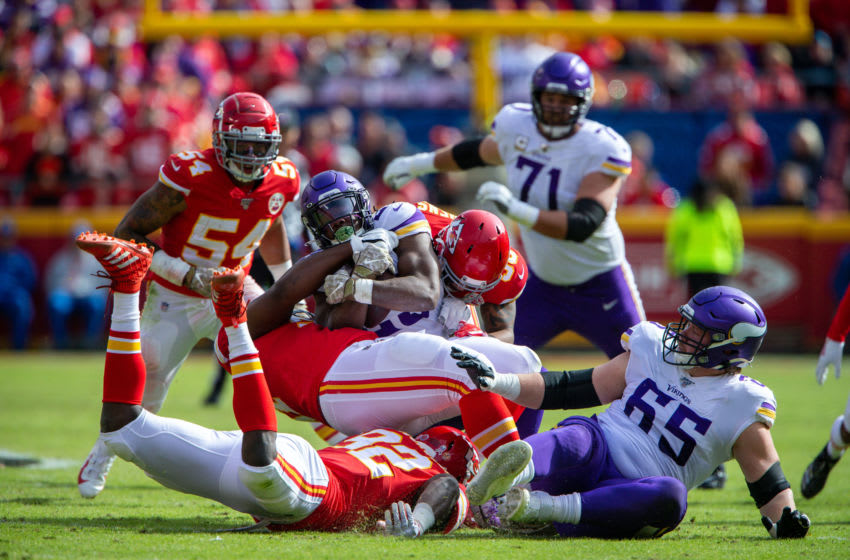 KANSAS CITY, MO - NOVEMBER 03: Minnesota Vikings running back Alexander Mattison (25) is tackled during the game against the Kansas City Chiefs on November 3, 2019 at Arrowhead Stadium in Kansas City, Missouri. (Photo by William Purnell/Icon Sportswire via Getty Images)