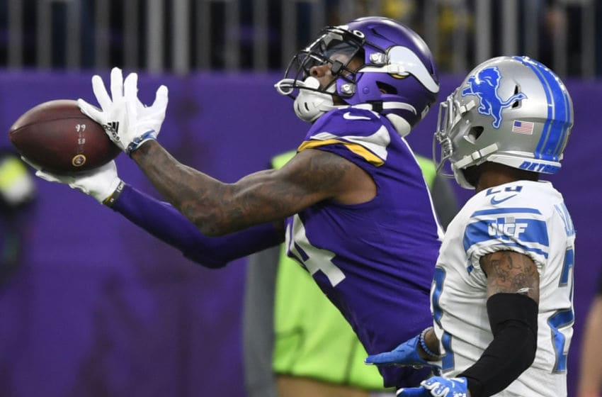MINNEAPOLIS, MINNESOTA - DECEMBER 08: Minnesota Vikings wide receiver Stefon Diggs #14 catches the ball against the Detroit Lions in the first half at U.S. Bank Stadium on December 08, 2019 in Minneapolis, Minnesota. (Photo by Hannah Foslien/Getty Images)