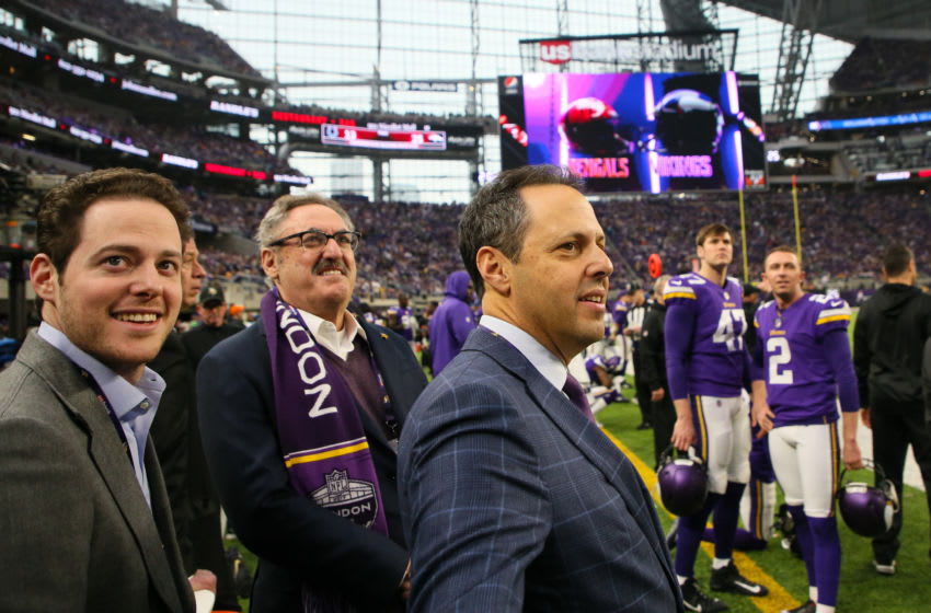 MINNEAPOLIS, MN - DECEMBER 17: Minnesota Vikings owners Zygi and Mark Wilf and Executive Vice President Jonathan Wilf watch from the sidelines during the fourth quarter of a game between the Minnesota Vikings and Cincinnati Bengals on December 17, 2017, at U.S. Bank Stadium, Minneapolis, MN. The Minnesota Vikings would clinch the NFC North Division Championship with the victory. Minnesota defeated Cincinnati by a score of 34-7. (Photo by Rich Gabrielson/Icon Sportswire via Getty Images)