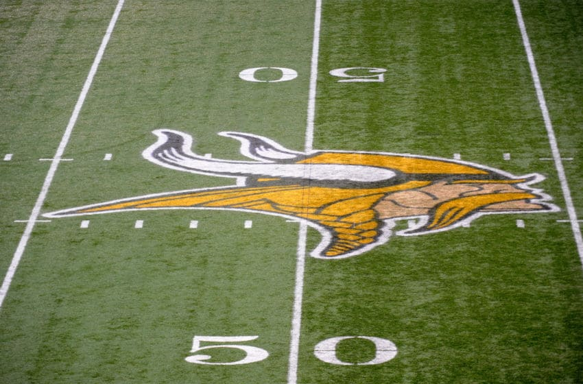 Minnesota Vikings logo on the field (Photo by Hannah Foslien/Getty Images)