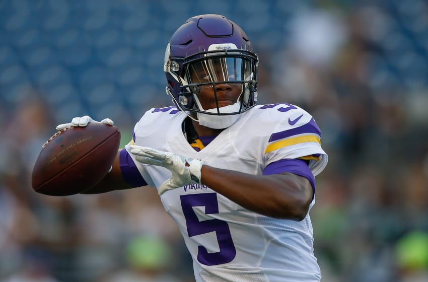 SEATTLE, WA - AUGUST 18: Quarterback Teddy Bridgewater #5 of the Minnesota Vikings warms up prior to the preseason game against the Seattle Seahawks at CenturyLink Field on August 18, 2016 in Seattle, Washington. (Photo by Otto Greule Jr/Getty Images)