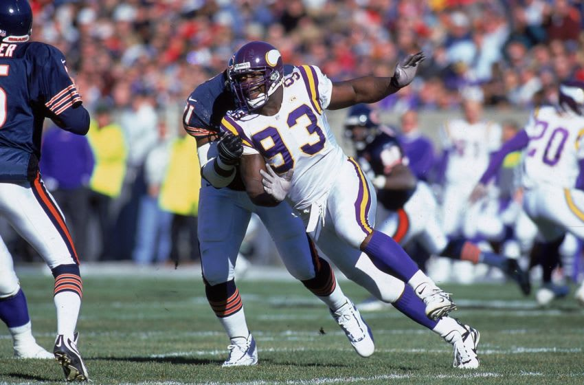 14 Nov 1999: John Randle #93 of the Minnesota Vikings runs on the field during the game against the Chicago Bears at Soldier Field in Chicago, Illinois. The Vikings defeated the Bears 27-14 in overtime.