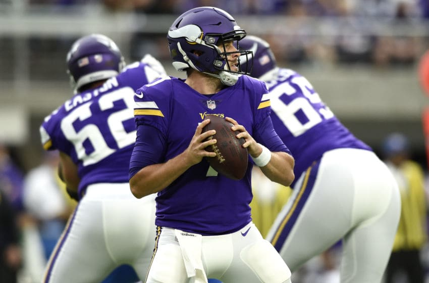MINNEAPOLIS, MN - OCTOBER 1: Case Keenum #7 of the Minnesota Vikings drops back to pass the ball in the first quarter of the game against the Detroit Lions on October 1, 2017 at U.S. Bank Stadium in Minneapolis, Minnesota. (Photo by Hannah Foslien/Getty Images)