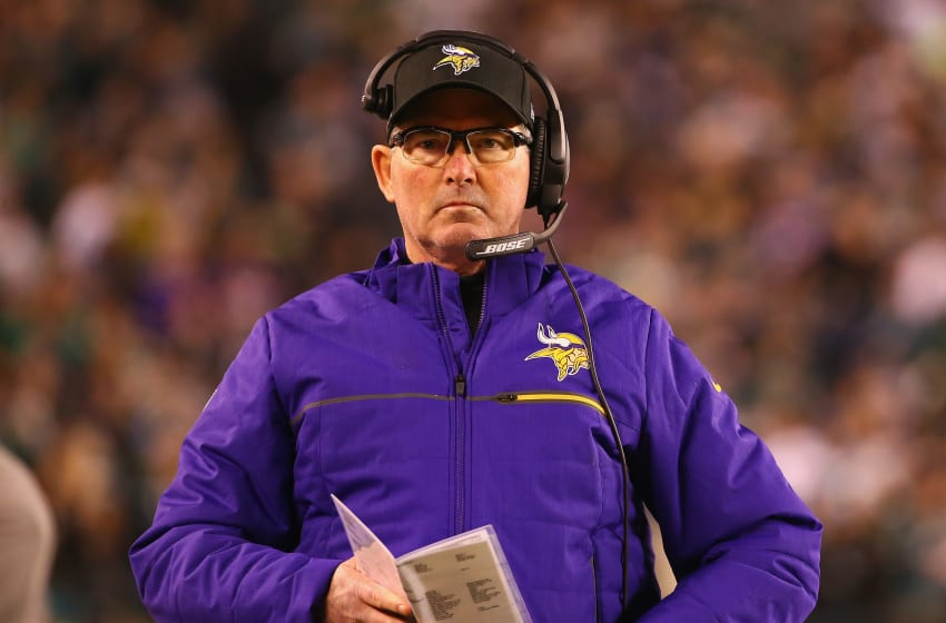 PHILADELPHIA, PA - JANUARY 21: Head coach Mike Zimmer of the Minnesota Vikings looks on during the first quarter against the Philadelphia Eagles in the NFC Championship game at Lincoln Financial Field on January 21, 2018 in Philadelphia, Pennsylvania. (Photo by Mitchell Leff/Getty Images)