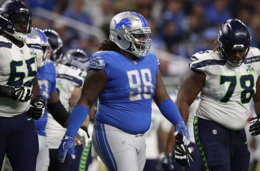DETROIT, MI - OCTOBER 28: Newly acquired Damon Harrison of the Detroit Lions #98 on the field against the Seattle Seahawks during the first half Ford Field on October 28, 2018 in Detroit, Michigan. (Photo by Gregory Shamus/Getty Images)