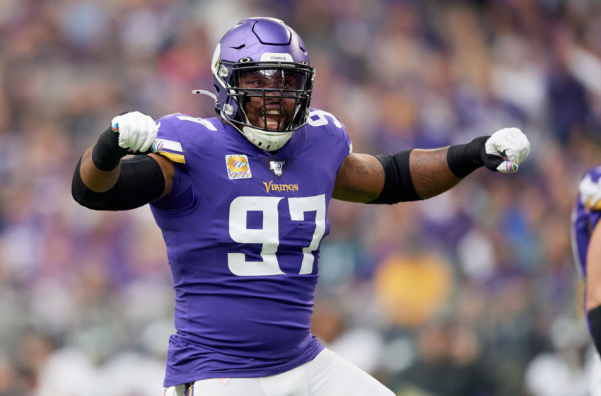 MINNEAPOLIS, MINNESOTA - OCTOBER 13: Everson Griffen #97 of the Minnesota Vikings pumps up the crowd during the game against the Philadelphia Eagles at U.S. Bank Stadium on October 13, 2019 in Minneapolis, Minnesota. The Vikings defeated the Eagles 38-20. (Photo by Hannah Foslien/Getty Images)