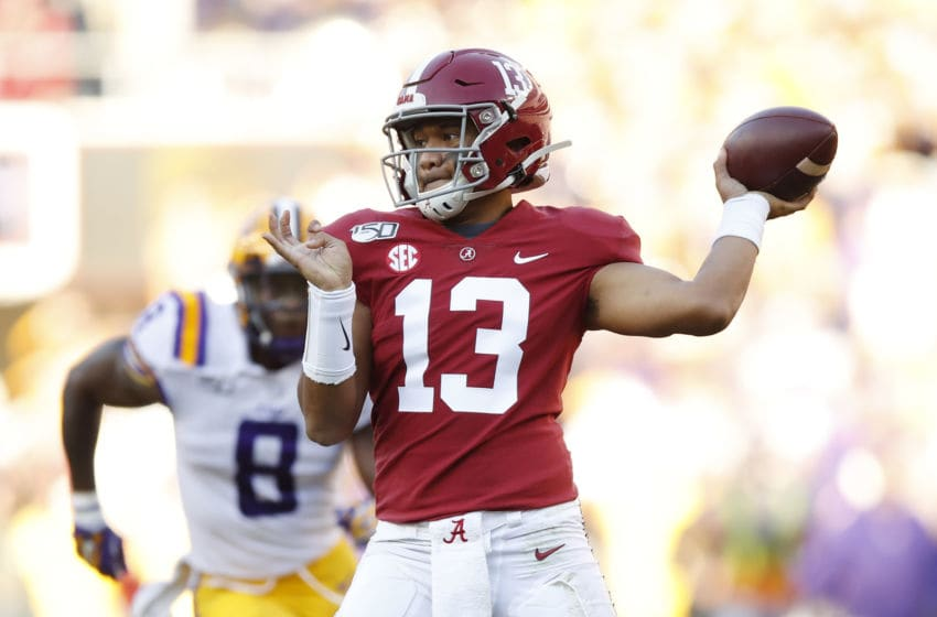TUSCALOOSA, ALABAMA - NOVEMBER 09: Tua Tagovailoa #13 of the Alabama Crimson Tide throws a pass during the first half against the LSU Tigers in the game at Bryant-Denny Stadium on November 09, 2019 in Tuscaloosa, Alabama. (Photo by Todd Kirkland/Getty Images)