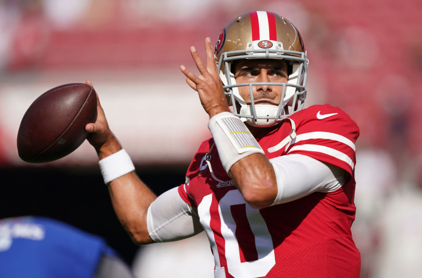 SANTA CLARA, CALIFORNIA - NOVEMBER 17: Jimmy Garoppolo #10 of the San Francisco 49ers warms up during pregame warm ups prior to the start of an NFL football game against the Arizona Cardinals at Levi's Stadium on November 17, 2019 in Santa Clara, California. (Photo by Thearon W. Henderson/Getty Images)
