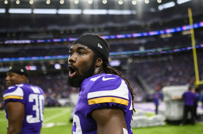 MINNEAPOLIS, MN - NOVEMBER 17: Dalvin Cook #33 of the Minnesota Vikings on the field before the game against the Denver Broncos at U.S. Bank Stadium on November 17, 2019 in Minneapolis, Minnesota. (Photo by Stephen Maturen/Getty Images)