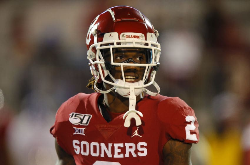 NORMAN, OK - NOVEMBER 23: Wide receiver CeeDee Lamb #2 of the Oklahoma Sooners looks across the field before a game against the TCU Horned Frogs on November 23, 2019 at Gaylord Family Oklahoma Memorial Stadium in Norman, Oklahoma. OU held on to win 28-24. (Photo by Brian Bahr/Getty Images)