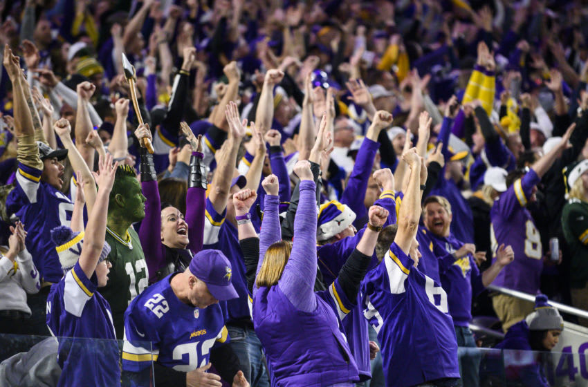 MINNEAPOLIS, MN - DECEMBER 23: Fans celebrate after a touchdown score by Stefon Diggs #14 of the Minnesota Vikings in the second quarter of the game against the Green Bay Packers at U.S. Bank Stadium on December 23, 2019 in Minneapolis, Minnesota. (Photo by Stephen Maturen/Getty Images)