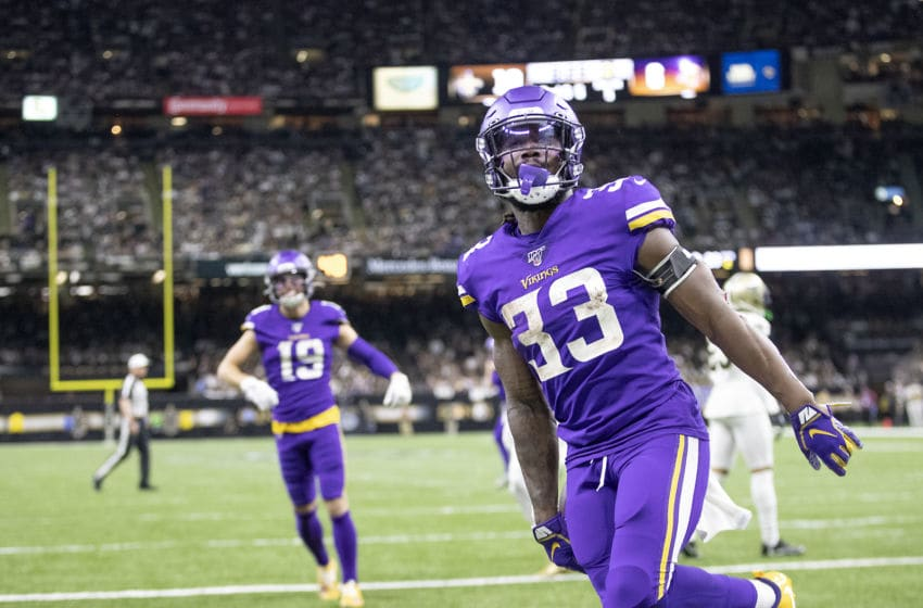 New Orleans, LA January 5: Minnesota Vikings running back Dalvin Cook celebrated after he ran the ball into the end zone for a touchdown in the second quarter. (Photo by Elizabeth Flores /Star Tribune via Getty Images)