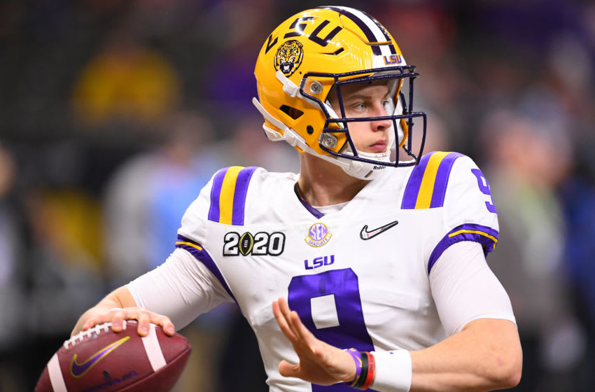 NEW ORLEANS, LA - JANUARY 13: Joe Burrow #9 of the LSU Tigers warms up prior to taking on the Clemson Tigers during the College Football Playoff National Championship held at the Mercedes-Benz Superdome on January 13, 2020 in New Orleans, Louisiana. (Photo by Jamie Schwaberow/Getty Images)