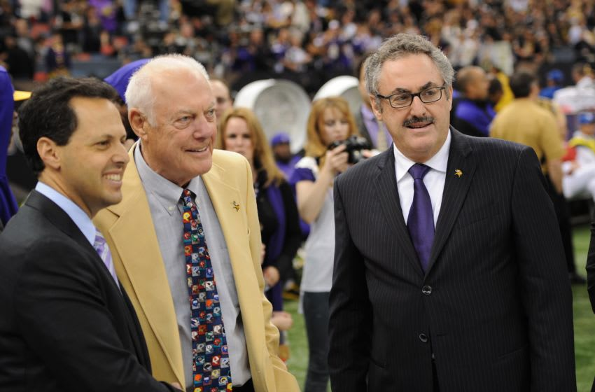 NEW ORLEANS - JANUARY 24: Former head Minnesota Vikings head coach Bud Grant (center) talks with current team owners Zygi Wilf (right) and Mark Wilf (left) prior to the NFC Championship Game against the New Orleans Saints on January 24, 2010 in New Orleans, Louisiana. (Photo by Tom Dahlin/GettyImages)