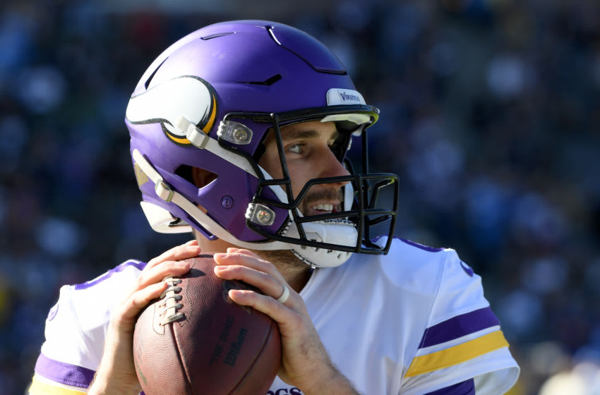 CARSON, CALIFORNIA - DECEMBER 15: Kirk Cousins #8 of the Minnesota Vikings warms up before the game against the Los Angeles Chargers at Dignity Health Sports Park on December 15, 2019 in Carson, California. (Photo by Harry How/Getty Images)