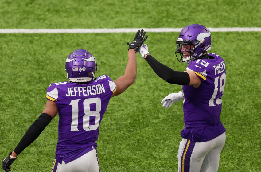 (Photo by Brad Rempel-USA TODAY Sports) Justin Jefferson and Adam Thielen