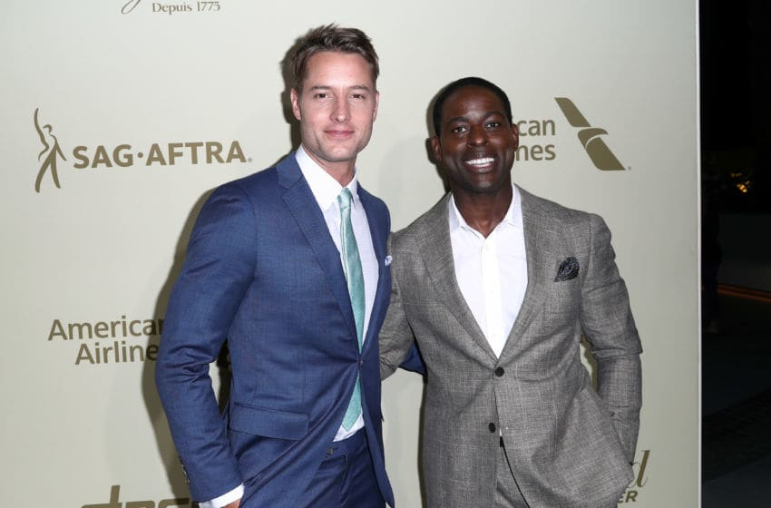 BEVERLY HILLS, CA - SEPTEMBER 14: Justin Hartley (L) and Sterling K. Brown attend The Hollywood Reporter and SAG-AFTRA Inaugural Emmy Nominees Night presented by American Airlines, Breguet, and Dacor at the Waldorf Astoria Beverly Hills on September 14, 2017 in Beverly Hills, California. (Photo by Frederick M. Brown/Getty Images)
