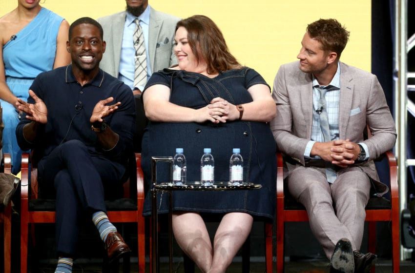 BEVERLY HILLS, CA - AUGUST 03: (L-R) Actors Sterling K. Brown, Chrissy Metz, and Justin Hartley of 'This Is Us' speak onstage during the NBCUniversal portion of the 2017 Summer Television Critics Association Press Tour at The Beverly Hilton Hotel on August 3, 2017 in Beverly Hills, California. (Photo by Frederick M. Brown/Getty Images)