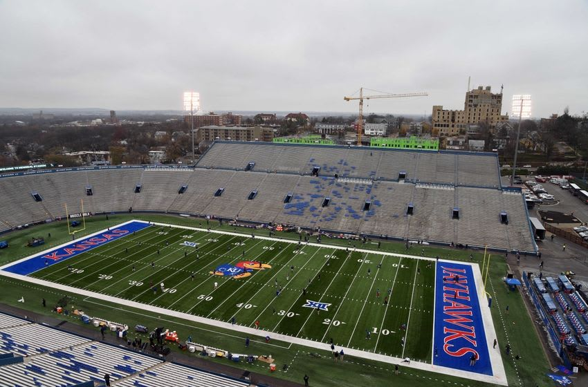 Nov 28, 2015; Lawrence, KS, USA; An overall view of Memorial Stadium before the game between the Kansas State Wildcats and Kansas Jayhawks. Mandatory Credit: John Rieger-USA TODAY Sports