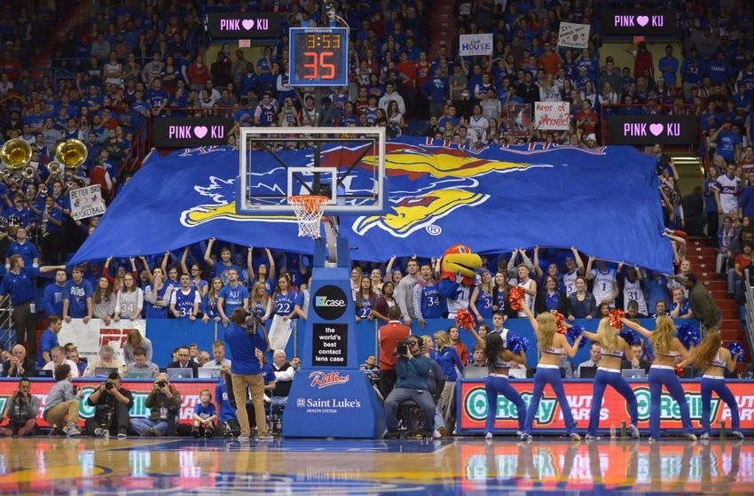 Feb 2, 2015; Lawrence, KS, USA; The Kansas Jayhawks fans cheer from the stands during the second half against the Iowa State Cyclones at Allen Fieldhouse. The Jawhawks won 89-76. Mandatory Credit: Denny Medley-USA TODAY Sports