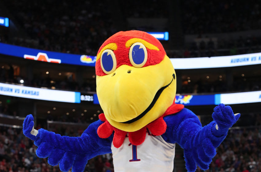 SALT LAKE CITY, UTAH - MARCH 23: The Kansas Jayhawks mascot is seen during their game against the Auburn Tigers in the Second Round of the NCAA Basketball Tournament at Vivint Smart Home Arena on March 23, 2019 in Salt Lake City, Utah. (Photo by Tom Pennington/Getty Images)