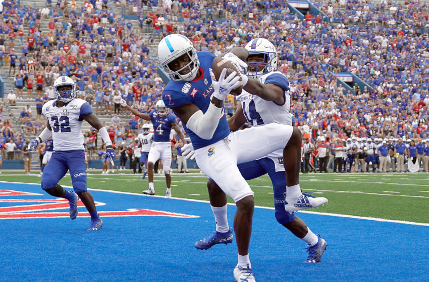 Wide receiver Daylon Charlot #2 of Kansas football catches the game-winning pass in the endzone. (Photo by Jamie Squire/Getty Images)