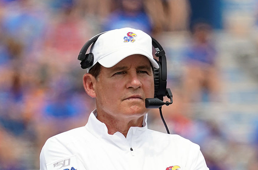 LAWRENCE, KANSAS - AUGUST 31: Head coach Les Miles of the Kansas Jayhawks coaches from the sidelines during the game against the Indiana State Sycamores at Memorial Stadium on August 31, 2019 in Lawrence, Kansas. (Photo by Jamie Squire/Getty Images)
