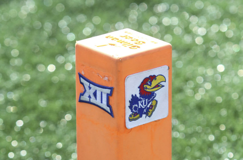 A pylon with the Big 12 and Kansas football logos on it. Photo by Ed Zurga/Getty Images)
