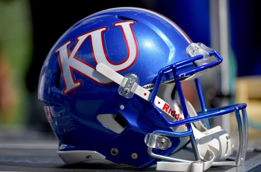 Sep 15, 2018; Lawrence, KS, USA; A general view of a Kansas Jayhawks helmet during the second half against the Rutgers Scarlet Knights at Memorial Stadium. Kansas won 55-14. Mandatory Credit: Denny Medley-USA TODAY Sports