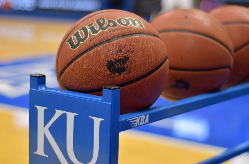 A general view of basketballs on court as the teams warm up before the game between Kansas basketball and Stanford. Mandatory Credit: Denny Medley-USA TODAY Sports