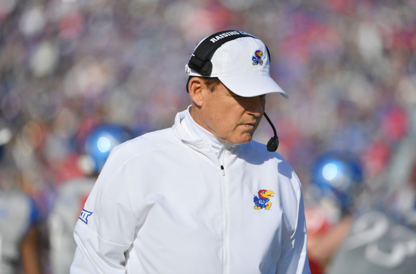 Kansas football head coach Les Miles looks on from the sidelines. Mandatory Credit: Denny Medley-USA TODAY Sports