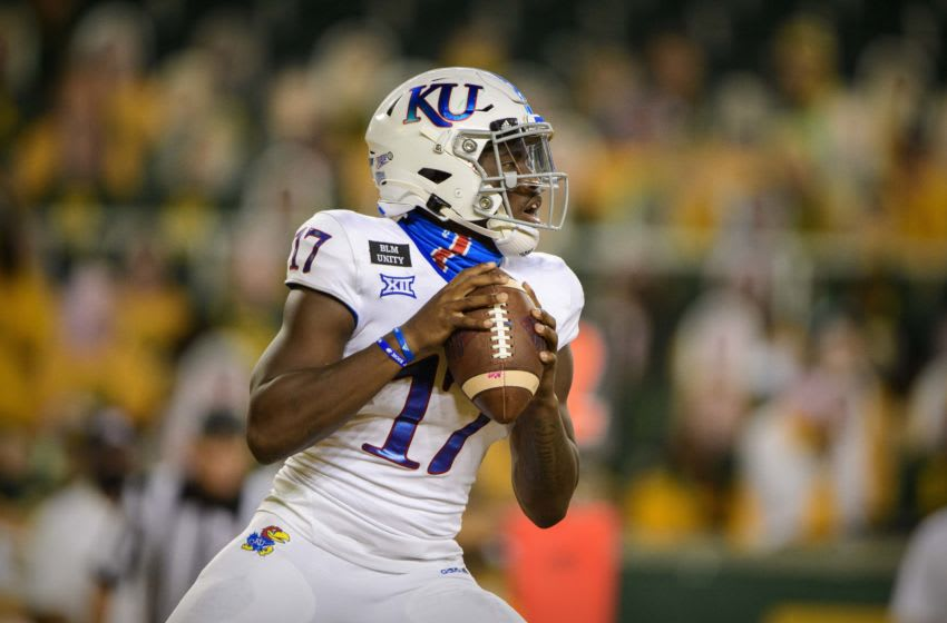 Kansas football quarterback Jalon Daniels (17) in action. Mandatory Credit: Jerome Miron-USA TODAY Sports