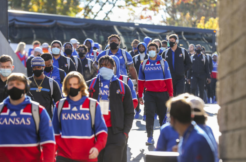 kansas football players and staff arrive before their game against the West Virginia Mountaineers at Mountaineer Field at Milan Puskar Stadium. Mandatory Credit: Ben Queen-USA TODAY Sports