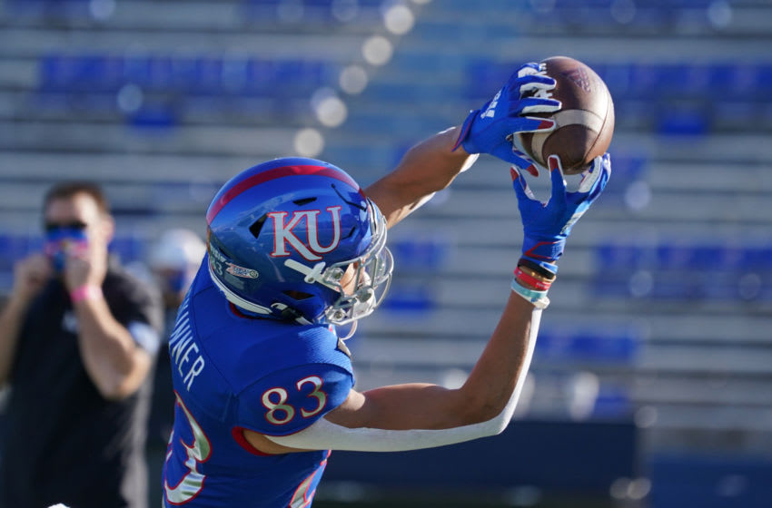 Kansas football wide receiver Quentin Skinner (83) warms up before the game. Mandatory Credit: Denny Medley-USA TODAY Sports