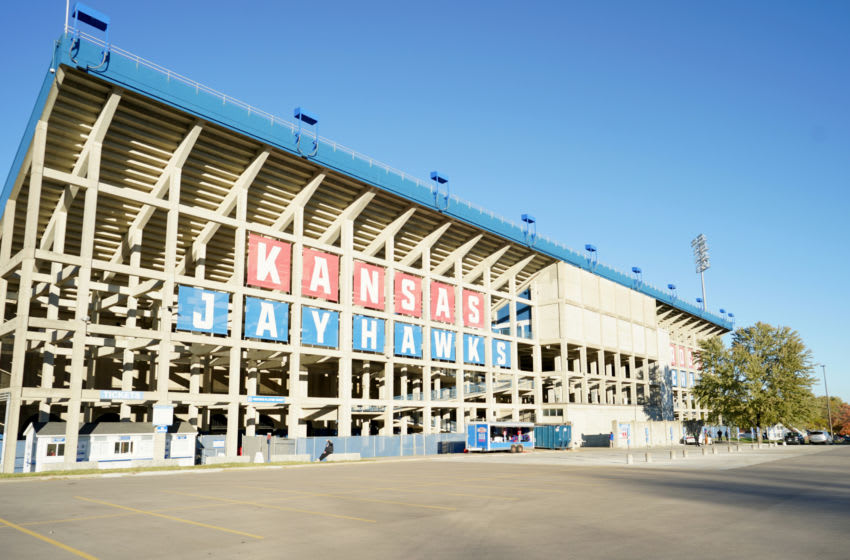 A general view of the exterior of the Kansas football stadium. Mandatory Credit: Denny Medley-USA TODAY Sports