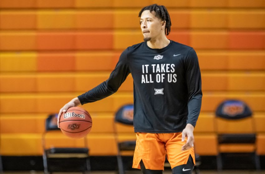 Dec 8, 2020; Stillwater, Oklahoma, USA; Oklahoma State Cowboys guard Cade Cunningham (2) warms up before the game against the Oral Roberts Golden Eagles at Gallagher-Iba Arena. Mandatory Credit: Rob Ferguson-USA TODAY Sports