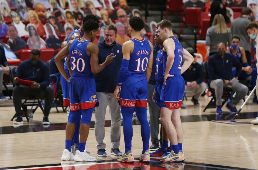 Kansas basketball head coach Bill Self during a time out. Mandatory Credit: Michael C. Johnson-USA TODAY Sports