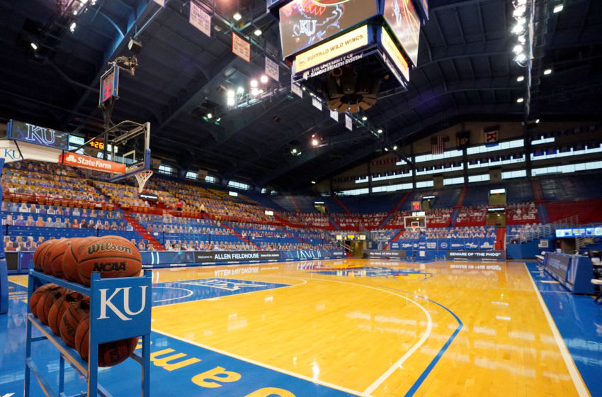 A general view of the court at Allen Fieldhouse Mandatory Credit: Denny Medley-USA TODAY Sports