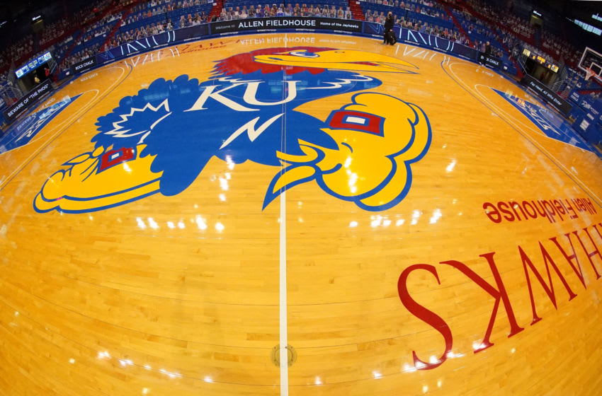 Feb 11, 2021; Lawrence, Kansas, USA; A general view of the court before the game between the Kansas Jayhawks and Iowa State Cyclones at Allen Fieldhouse. Mandatory Credit: Denny Medley-USA TODAY Sports