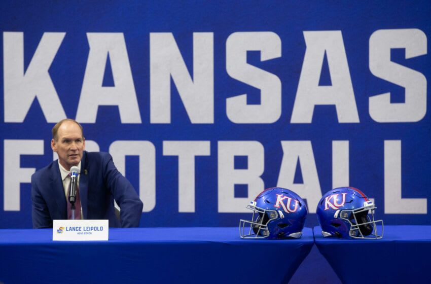 New Kansas football coach Lance Leipold takes questions during an introductory news conference Monday at the team's indoor practice facility in Lawrence. Leipold went 24-10 with three consecutive bowl game appearances in his final three seasons at Buffalo.