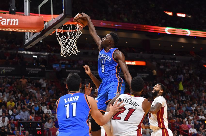 Dec 27, 2016; Miami, FL, USA; Oklahoma City Thunder forward Jerami Grant (9) dunks the ball against the Miami Heat during the first half at American Airlines Arena. Mandatory Credit: Jasen Vinlove-USA TODAY Sports