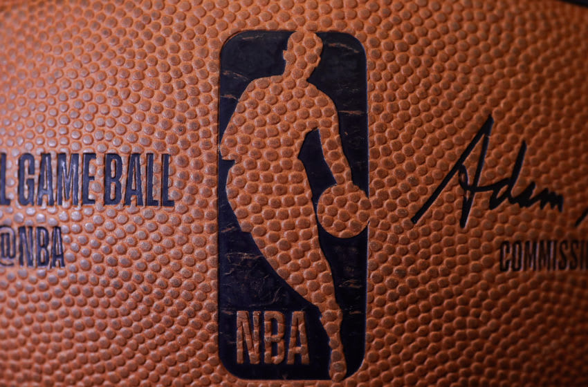 OKC Thunder advantage? A detailed view of the dimpled NBA logo on a basketball. (Photo by Tom Szczerbowski/Getty Images)