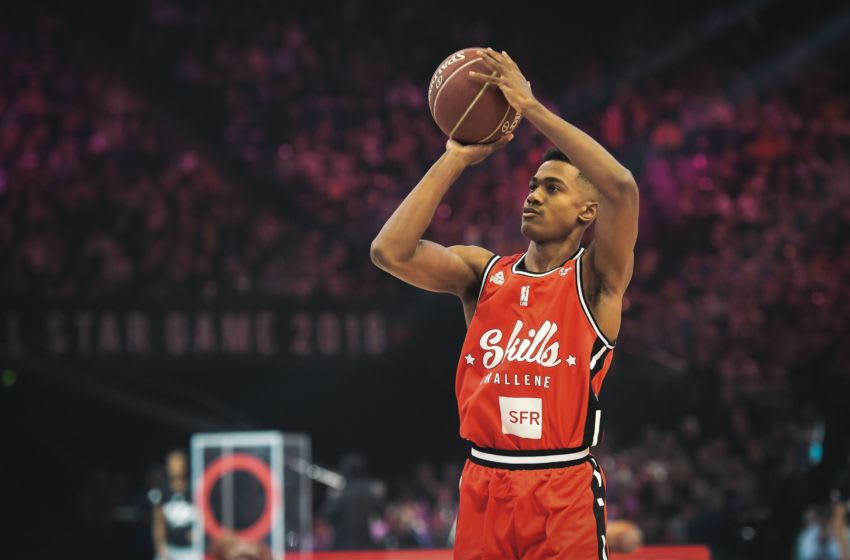 OKC Thunder draft prospect profiles: France's Theo Maledon tries a shot at the point guard contest during an All Star Game (Photo by Lucas BARIOULET / AFP) (Photo credit should read LUCAS BARIOULET/AFP via Getty Images)