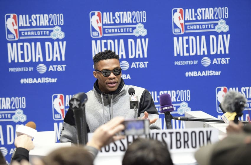 OKC Thunder Russell Westbrook addresses the media during the 2019 NBA All-Star Practice and Media Availability (Photo by Tom O'Connor/NBAE via Getty Images)