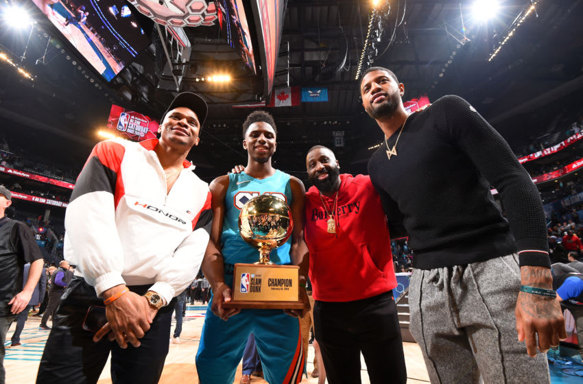 Russell Westbrook, Hamidou Diallo, Raymond Felton, Paul George, OKC Thunder. 2019 AT&;T Slam Dunk Contest as part of the State Farm All-Star Saturday Night (Photo by Andrew D. Bernstein/NBAE via Getty Images)