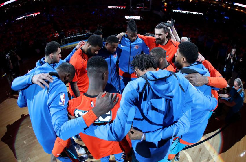 OKC Thunder huddle (Photo by Joe Murphy/NBAE via Getty Images)
