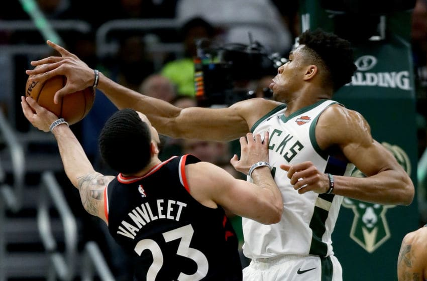 OKC Thunder 30 for 30 roundtable: Giannis Antetokounmpo #34 of the Milwaukee Bucks blocks a shot attempt by Fred VanVleet #23 of the Toronto Raptors (Photo by Jonathan Daniel/Getty Images)