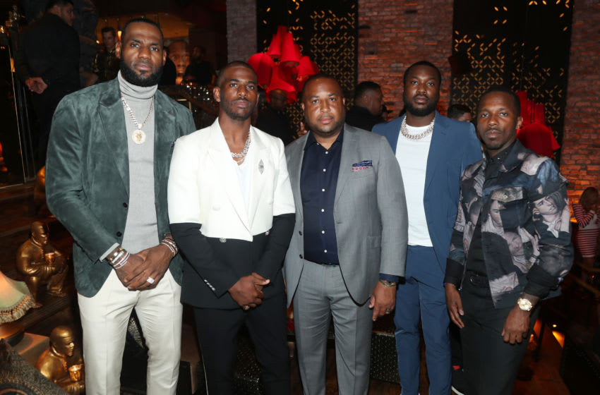 Lebron James, Chris Paul, Randy Mims, Meek Mill and Rich Paul celebrate Kevin Hart's 40th Birthday, OKC Thunder (Photo by Jerritt Clark/Getty Images for Rémy Martin)