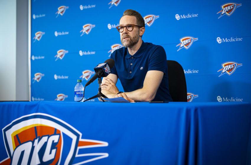 OKC Thunder : General Manager Sam Presti speaks to media at preseason media availability (Photo by Zach Beeker/NBAE via Getty Images)