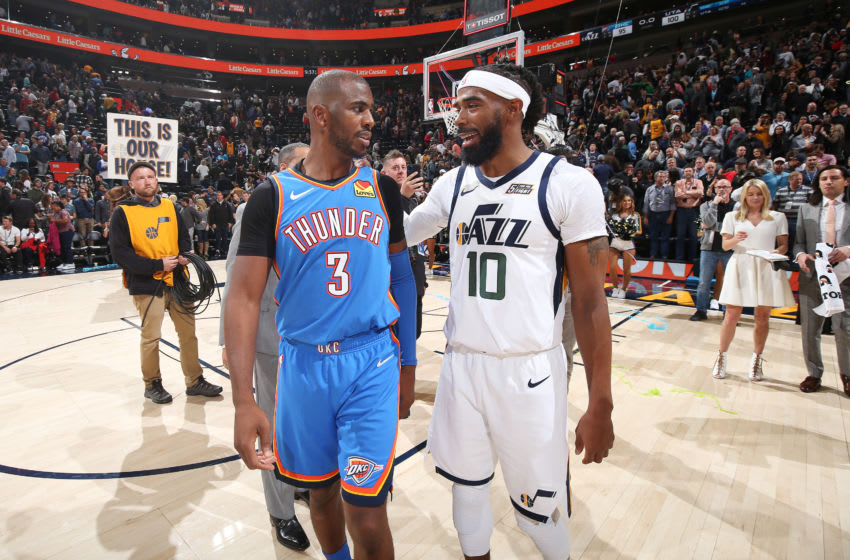 OKC Thunder: Chris Paul #3 and Mike Conley #10 of the Utah Jazz talk after a game on October 23, 2019 (Photo by David Sherman/NBAE via Getty Images)